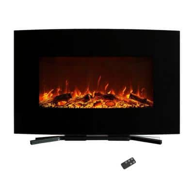 36 in. Curved Color Changing Electric Fireplace Wall Mount Floor Stand in Black