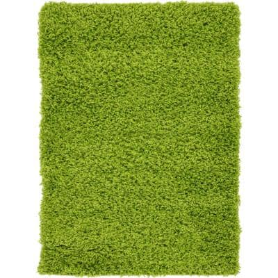 Solid Shag Grass Green 2 ft. x 3 ft. Area Rug