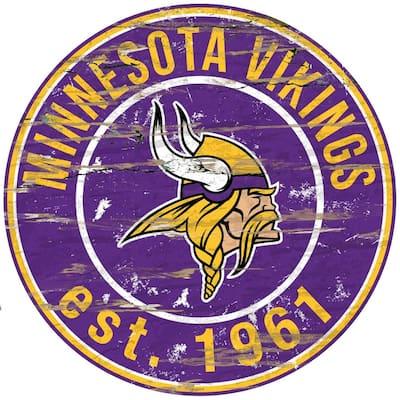 "24"" NFL Minnesota Vikings Round Distressed Sign"