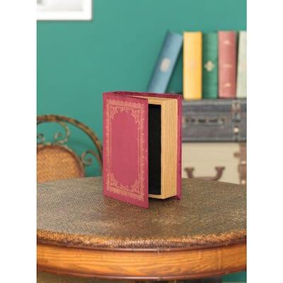 Red Decorative Wooden Vintage Book Shaped Trinket Storage Box