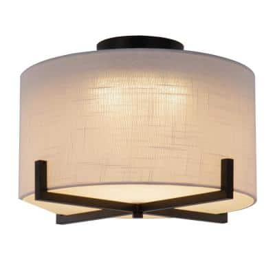 13.5 in. Matte Black Integrated LED Flush Mount with White Fabric Shade