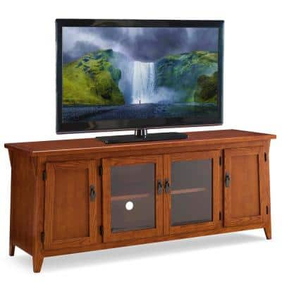 "Canted Side Mission Oak 60"" Four Door TV Console"