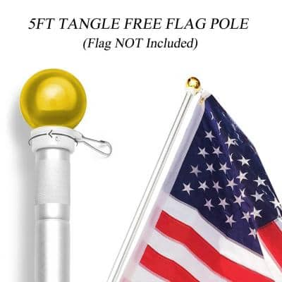 60 in. Wall Mount Flagpole, Aluminum Flag Pole with Rotating Rings - Weather Resistant and Rust Free - Gold Ball Top