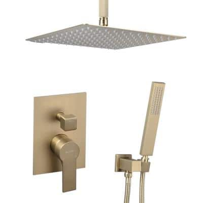 Single-Handle 1- -Spray Square High Pressure Shower Faucet in Brushed Gold (Valve Included)