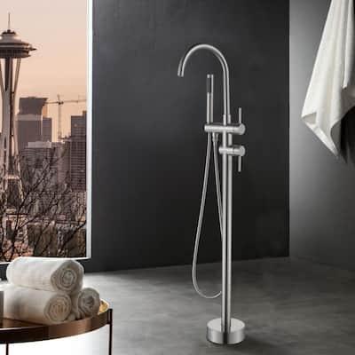 Free Standing Single-Handle Floor Mount Bathroom Tub Faucets with Handheld Shower in Brushed Nickel