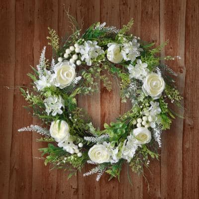 18 in. Artificial White Hydrangea and Rose Wreath