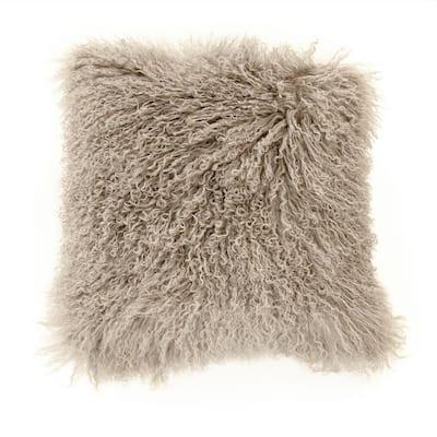 Tibetan Light Grey Lamb Fur Pouf