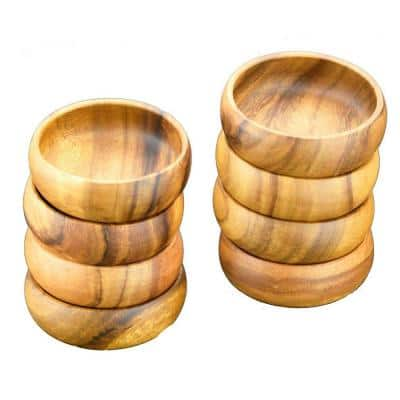 4 in. 8-Piece Wooden Round Dip and Nut Bowl Set