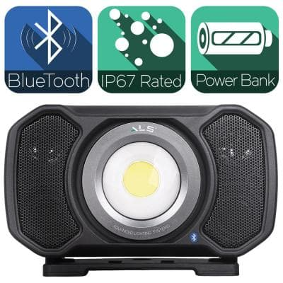 2,000 Lumens LED Rechargeable Bluetooth Audio Work Light with Integrated Power Bank and Removable Power Cable
