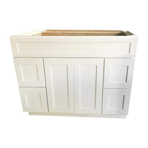 Bremen Cabinetry Bremen Ready To Assemble Shaker 48 In W X 21 In D X 34 5 In H Bath Vanity Cabinet With 2 Doors And 4 Drawers In White Sw 4821d The Home Depot