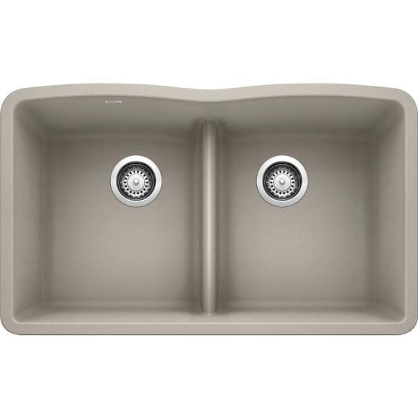Blanco Diamond Undermount Concrete Gray Granite Composite 32 06 In 50 Double Bowl Kitchen Sink With Low Divide 442746 The Home Depot