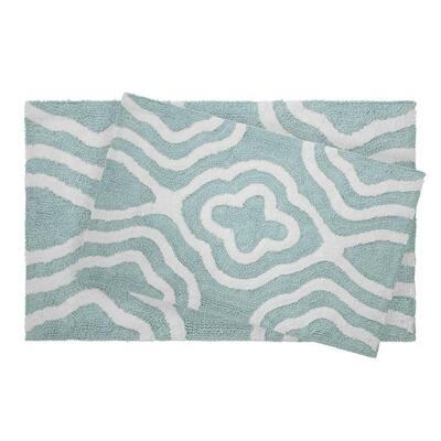 Reversible Cotton Soft Giri Aquatic Blue 2-Piece Bath Mat Set