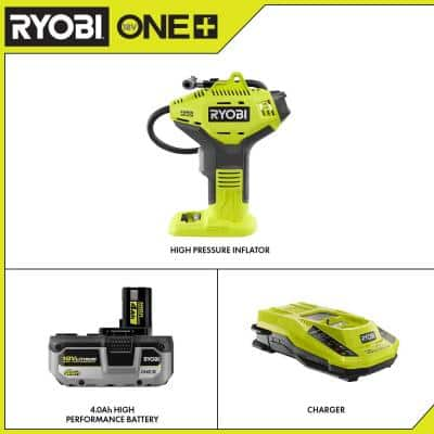 ONE+ 18V Cordless High Pressure Inflator with Digital Gauge with HIGH PERFORMANCE 4.0 Ah Battery and Charger Kit
