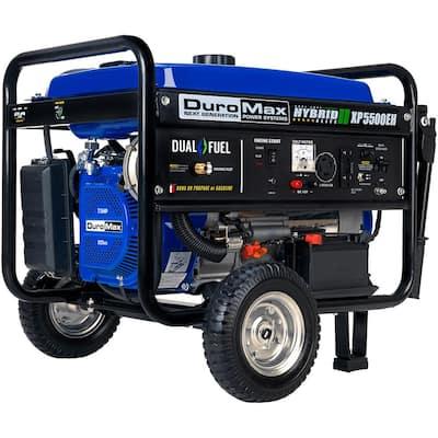 5500-Watt/4500-Watt Electric Start Dual Fuel Gasoline/Propane Powered Portable Generator with Wheel Kit