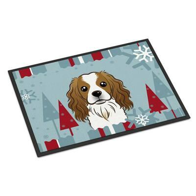 24 in. x 36 in. Indoor/Outdoor Winter Holiday Cavalier Spaniel Door Mat