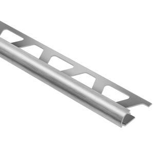 Rondec Brushed Chrome Anodized Aluminum 3/8 in. x 8 ft. 2-1/2 in. Metal Bullnose Tile Edging Trim