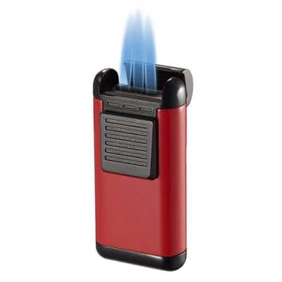 Antero Red Lacquer Triple Torch Cigar Lighter