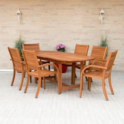 Arizona Oval 7-Piece Eucalyptus Patio Dining Set