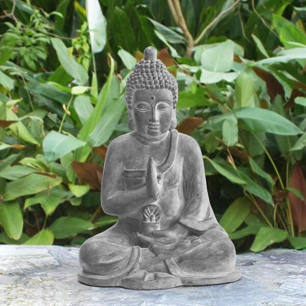 Sunjoy Atlanta Gray Decorative Buddha Garden Decor Statue D101019001 The Home Depot