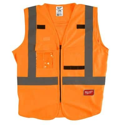 Large/X-Large Orange Class 2 High Visibility Safety Vest with 10 Pockets