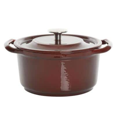 Oak Park 3 Qt. Enameled Cast Iron Casserole with Lid and Glass Steamer in Brown