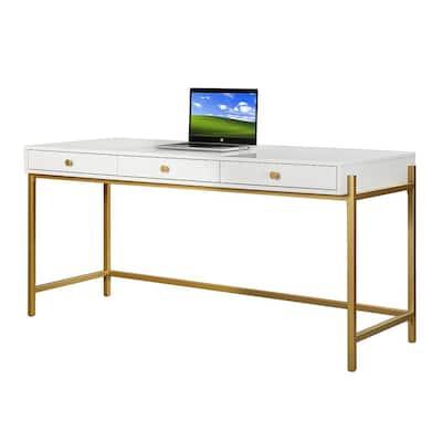 Zulma White Writing Desk with Golden Base