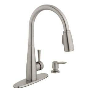 900 Series Single-Handle Pull-Down Sprayer Kitchen Faucet with Soap Dispenser in Stainless Steel