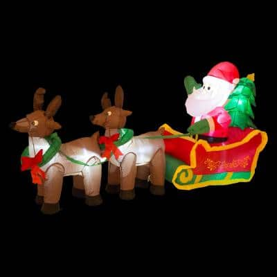 7 ft. Lighted Inflatable Santa Sleigh Decor
