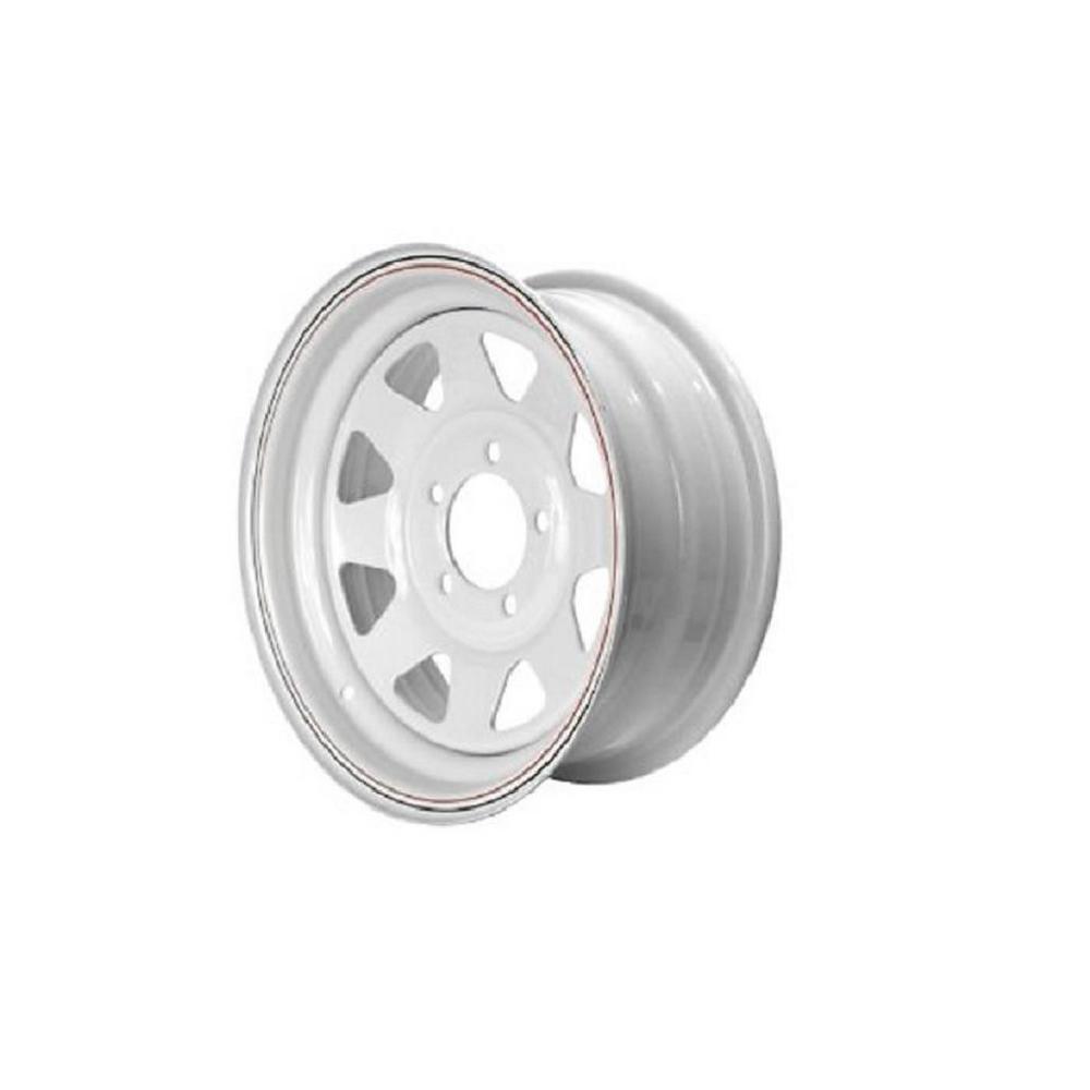 2150 lb. Load Capacity White with Stripe Eight Spoke Steel Wheel Rim