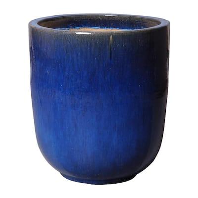 27 in. Round Blue Ceramic Planter