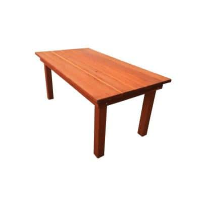 Farmhouse Heart Stained 8 ft. Redwood Outdoor Dining Table
