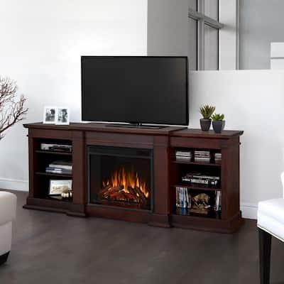 Fresno 72 in. Media Console Electric Fireplace in Dark Walnut