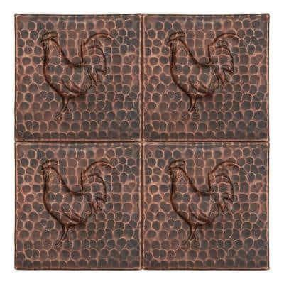 Hammered Copper Oil Rubbed Bronze 4 in. x 4 in. Decorative Wall Tile with Rooster Design (4-Pack)