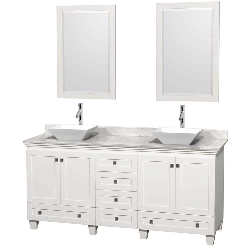 Wyndham Collection Acclaim 72 In W Double Vanity In White With Marble Vanity Top In Carrara White White Sinks And 2 Mirrors Wcv800072dwhcmd2wm24 The Home Depot