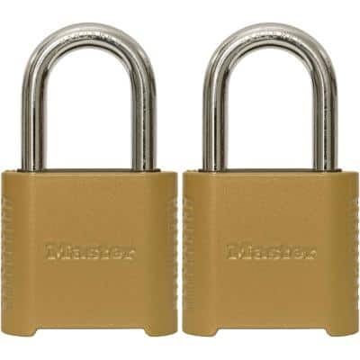 2 in. (51 mm) Wide Set Your Own Combination Padlock with 1-1/2 in. (38 mm) Shackle (2-Pack)