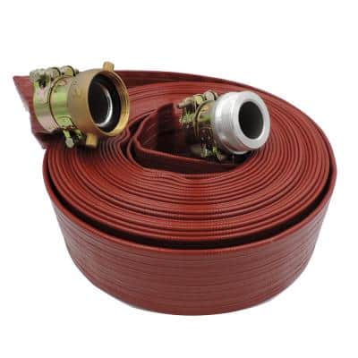 1-1/2 in. Dia. x 50 ft. Red 10 Bar High Pressure Lay Flat Hose with Connectors