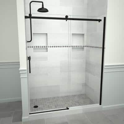 Redi Slide 5300 59 in. W x 76 in. H Semi-Frameless Sliding Shower Door in Matte Black with Handle and Clear Glass