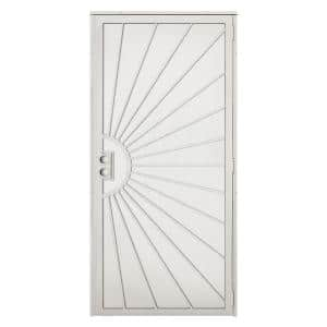 36 in. x 80 in. Solana Navajo White Surface Mount Outswing Steel Security Door with Perforated Metal Screen