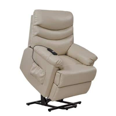 Power Recline and Lift Chair in Off-White Almond Tuff Stuff Fabric