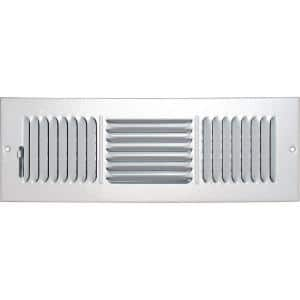 12 in. x 4 in. Ceiling/Sidewall Vent Register, White with 3-Way Deflection
