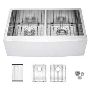 16-Gauge Stainless Steel 33 in. Double Bowl Farmhouse/Apron 50/50 Kitchen Sink with Bottom Grid