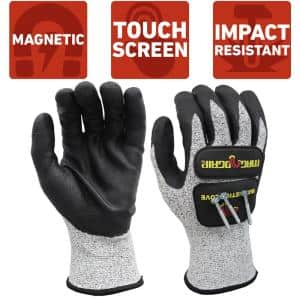 Large Impact and Cut Resistant Magnetic Gloves with Touchscreen Technology