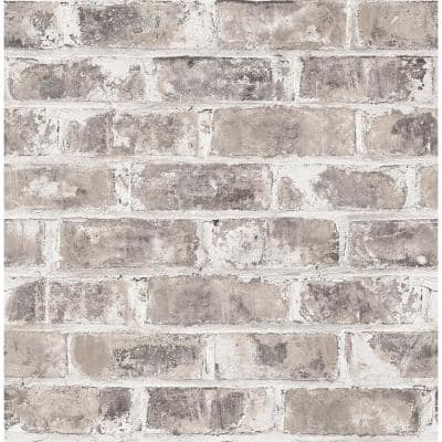 Jomax Grey Warehouse Brick Paper Non-Pasted Wallpaper Roll (Covers 56.4 Sq. Ft.)