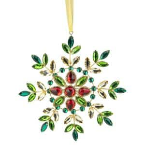 6.5 in. Green and Red Gem Stone Snowflake Christmas Ornament
