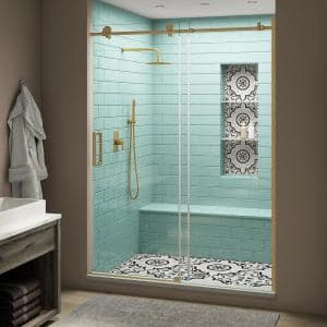 Coraline XL 56 - 60 in. x 80 in. Frameless Sliding Shower Door with StarCast Clear Glass in Brushed Gold Left Hand