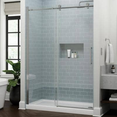 Exuma 60 in. W x 76 in. H Sliding Frameless Shower Door in Chrome with 3/8 in. (10 mm) Clear Glass