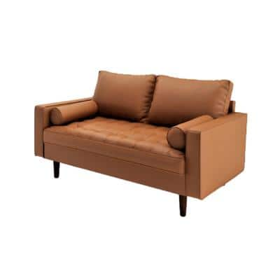 Lincoln 50.4 in. Brown Tufted Faux Leather 2-Seater Loveseat with Square Arms