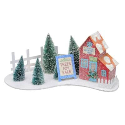 15 in. x 6.25 in. Pre-lit Glittered Red Christmas Tree Shop with Pine Trees Decoration and Warm White Lights