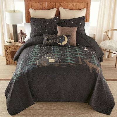 Evening Lodge 3-Piece Black Polyester Queen Quilt Set