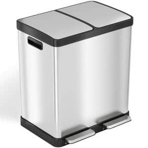 SoftStep 16 Gal. Stainless Steel Step Trash Can & Recycle Bin Combo Unit with Odor Filters & Inner Buckets for Kitchen
